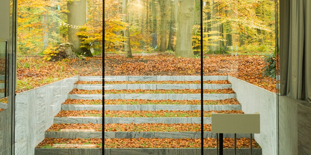 Modern architecture and autumn forest abstract 02